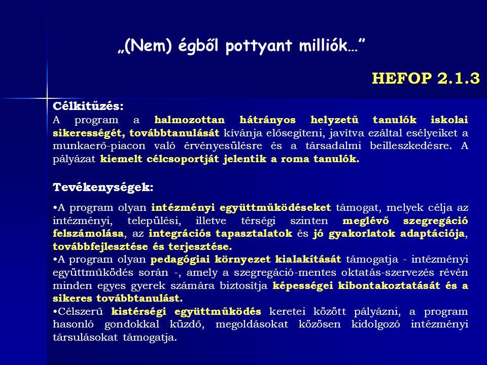 HEFOP 2.1.3 Célkitűzés: A program a halmozottan hátrányos helyzetű tanulók iskolai sikerességét, továbbtanulását kívánja elősegíteni, javítva ezáltal