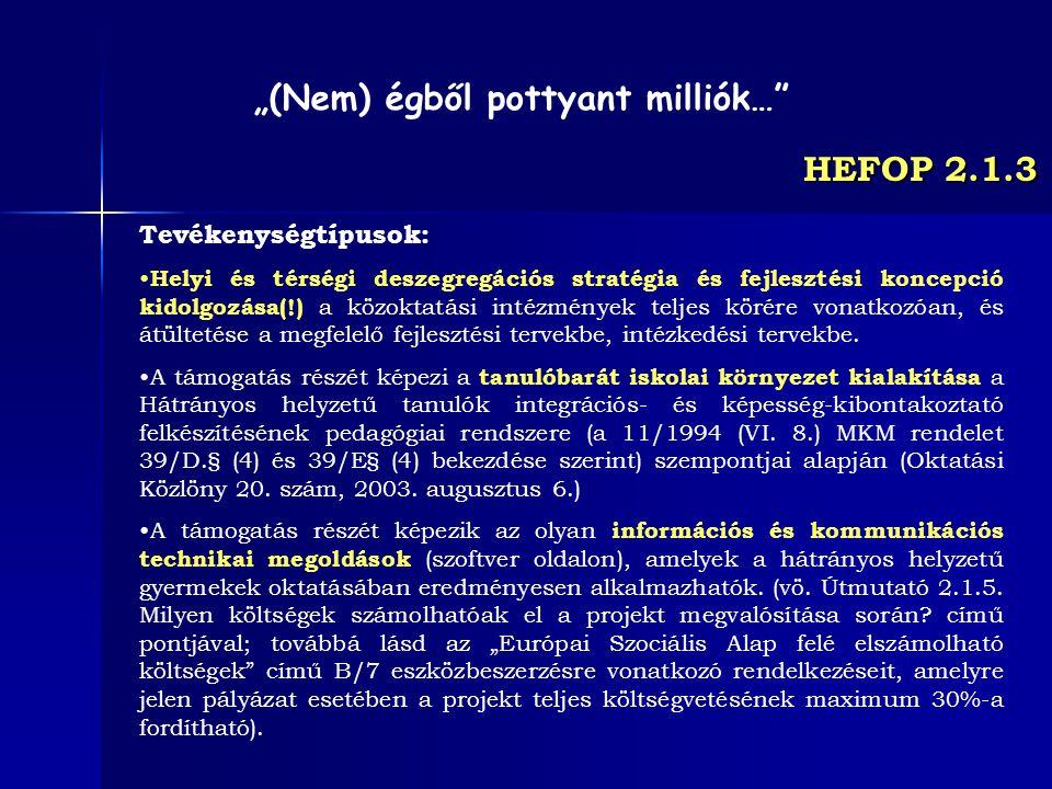 HEFOP 2.1.3 Tevékenységtípusok: Helyi és térségi deszegregációs stratégia és fejlesztési koncepció kidolgozása(!) a közoktatási intézmények teljes kör