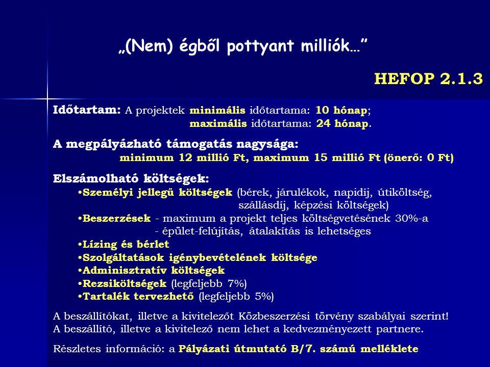 HEFOP 2.1.3 Időtartam: A projektek minimális időtartama: 10 hónap ; maximális időtartama: 24 hónap. A megpályázható támogatás nagysága: minimum 12 mil