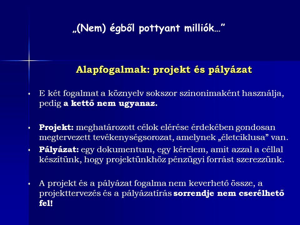 Alapfogalmak: projekt és pályázat  E két fogalmat a köznyelv sokszor szinonimaként használja, pedig a kettő nem ugyanaz.  Projekt: meghatározott cél