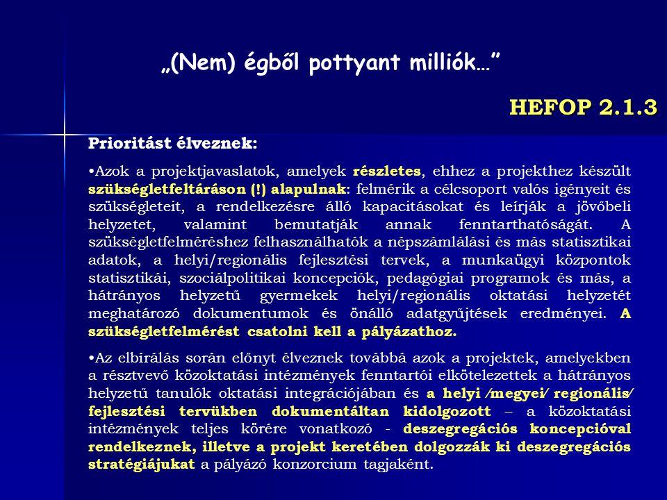 HEFOP 2.1.3 Prioritást élveznek: Azok a projektjavaslatok, amelyek részletes, ehhez a projekthez készült szükségletfeltáráson (!) alapulnak : felmérik
