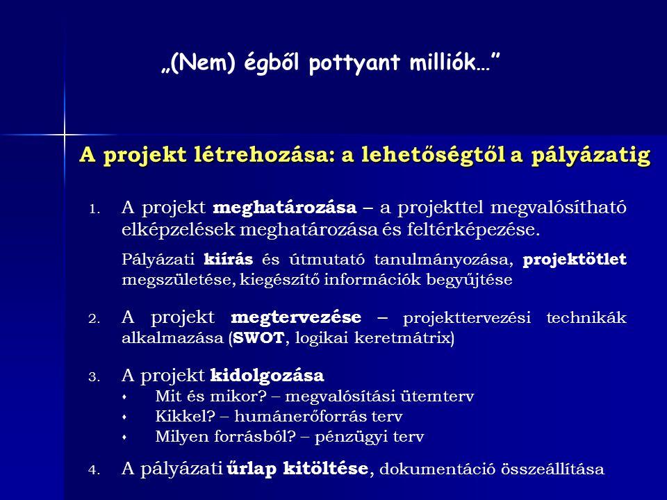 A projekt létrehozása: a lehetőségtől a pályázatig 1. A projekt meghatározása – a projekttel megvalósítható elképzelések meghatározása és feltérképezé