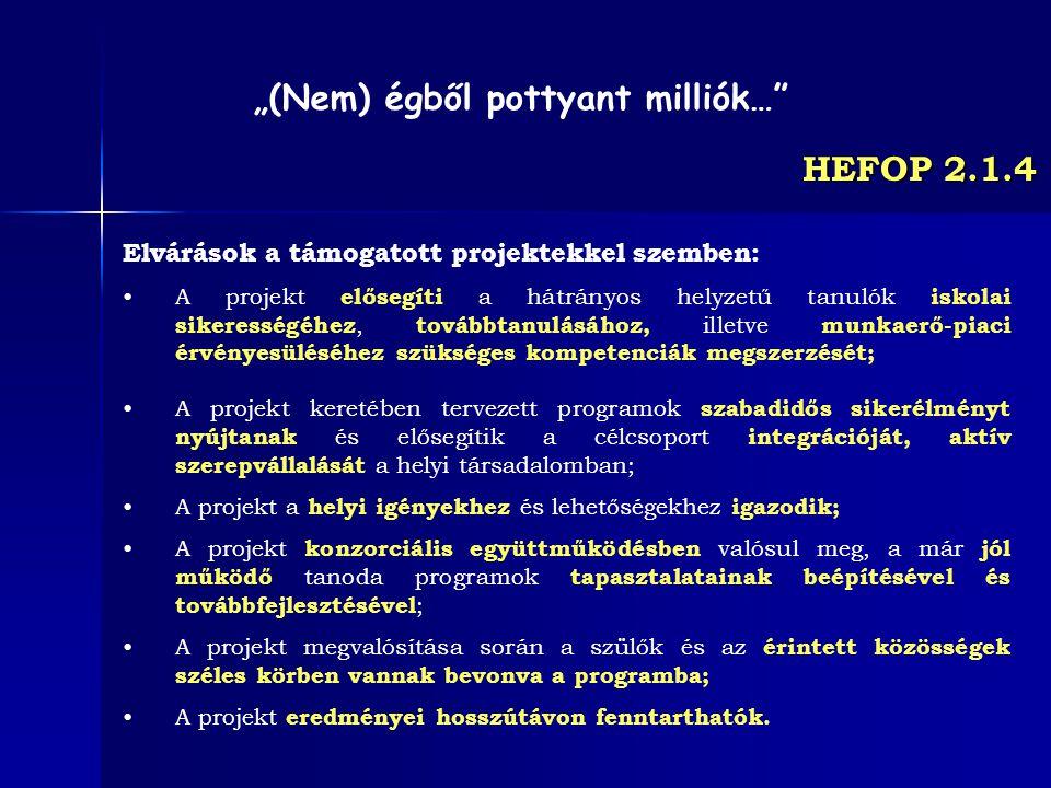 HEFOP 2.1.4 Elvárások a támogatott projektekkel szemben: A projekt elősegíti a hátrányos helyzetű tanulók iskolai sikerességéhez, továbbtanulásához, i