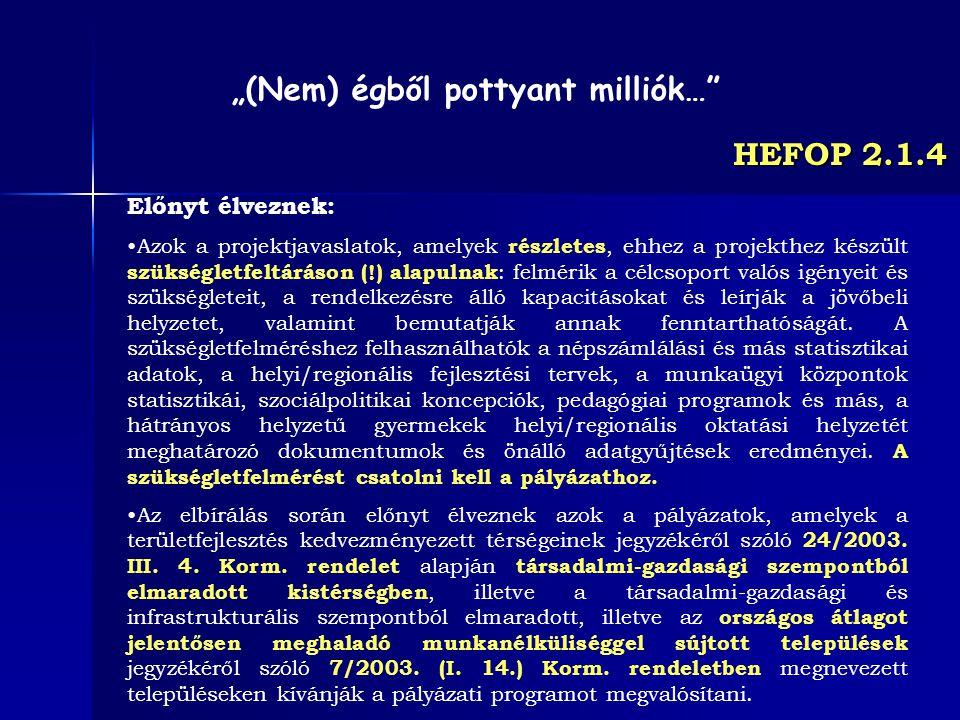 HEFOP 2.1.4 Előnyt élveznek: Azok a projektjavaslatok, amelyek részletes, ehhez a projekthez készült szükségletfeltáráson (!) alapulnak : felmérik a c