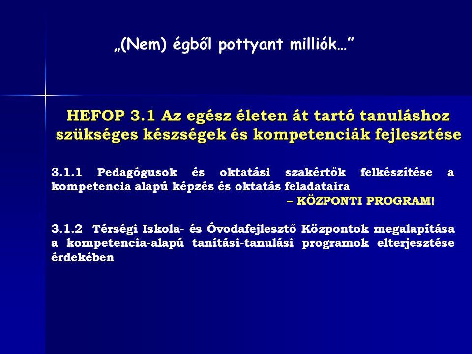 HEFOP 3.1 Az egész életen át tartó tanuláshoz szükséges készségek és kompetenciák fejlesztése 3.1.1 Pedagógusok és oktatási szakértők felkészítése a k
