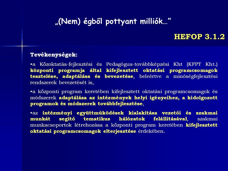 HEFOP 3.1.2 Tevékenységek: a Közoktatás-fejlesztési és Pedagógus-továbbképzési Kht (KFPT Kht.) központi programja által kifejlesztett oktatási program