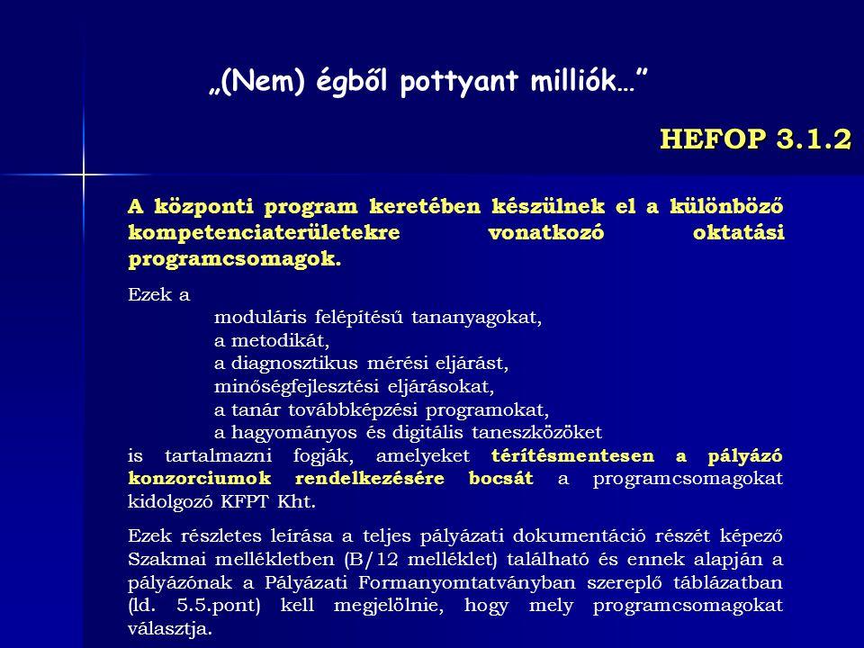HEFOP 3.1.2 A központi program keretében készülnek el a különböző kompetenciaterületekre vonatkozó oktatási programcsomagok. Ezek a moduláris felépíté