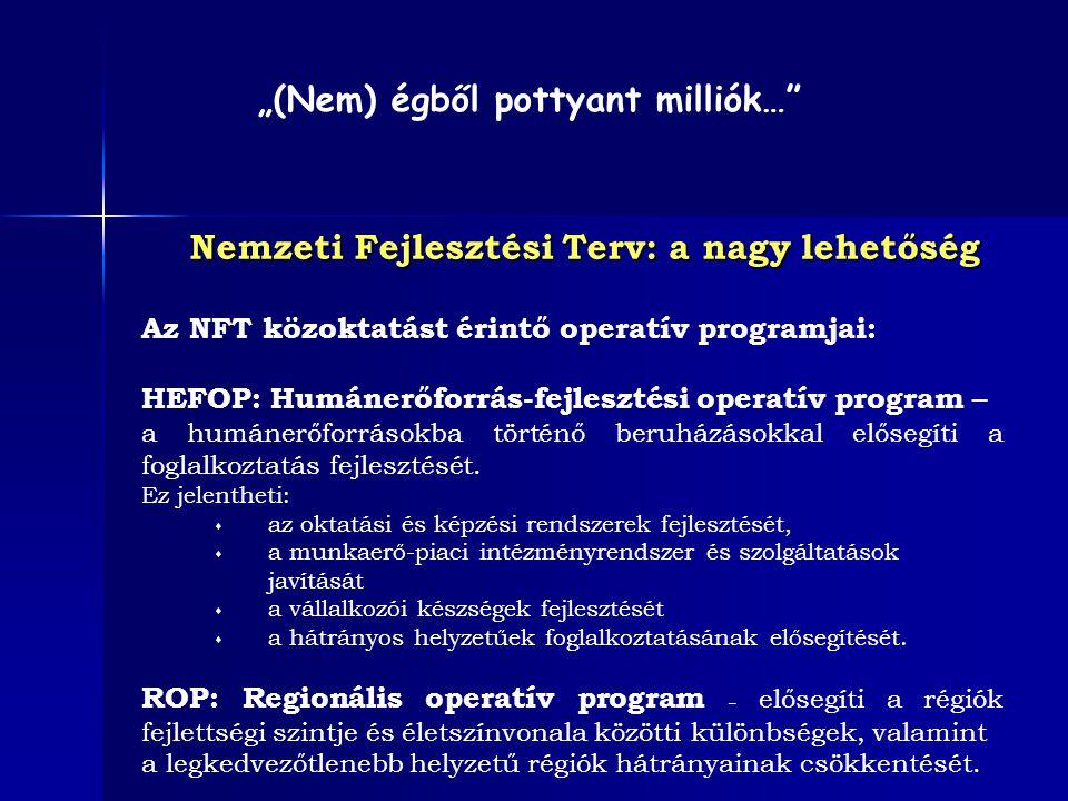 Nemzeti Fejlesztési Terv: a nagy lehetőség Az NFT közoktatást érintő operatív programjai: HEFOP: Humánerőforrás-fejlesztési operatív program – a humán