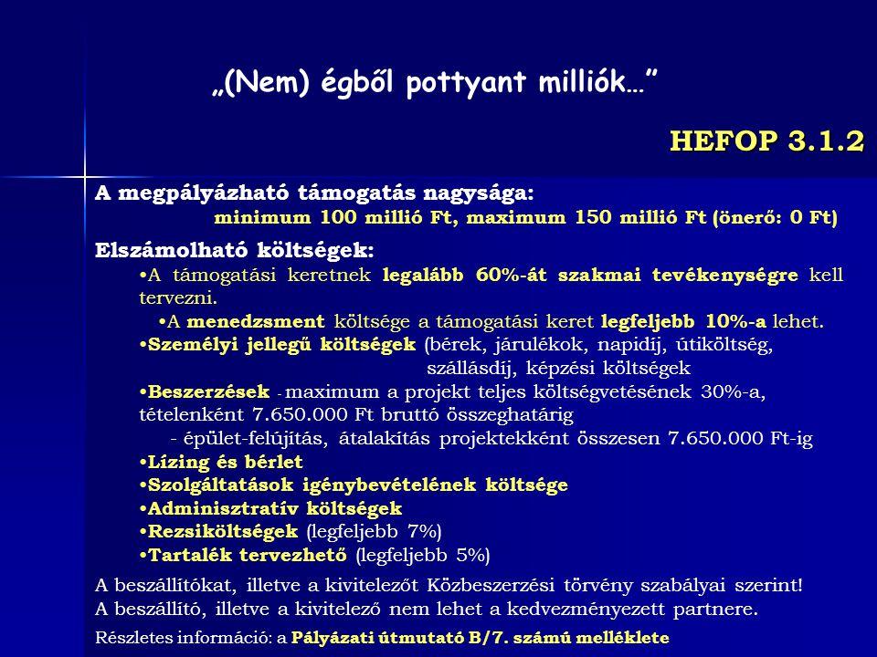 HEFOP 3.1.2 A megpályázható támogatás nagysága: minimum 100 millió Ft, maximum 150 millió Ft (önerő: 0 Ft) Elszámolható költségek: A támogatási keretn