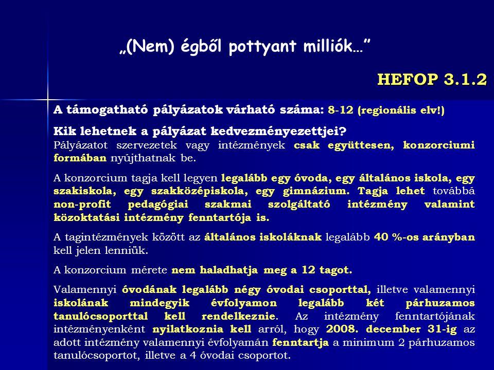 HEFOP 3.1.2 A támogatható pályázatok várható száma: 8-12 (regionális elv!) Kik lehetnek a pályázat kedvezményezettjei? Pályázatot szervezetek vagy int