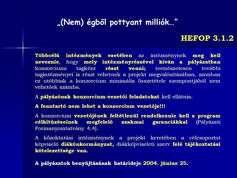 HEFOP 3.1.2 Többcélú intézmények esetében az intézménynek meg kell neveznie, hogy mely intézményrészével kíván a pályázatban konzorciumi tagként részt
