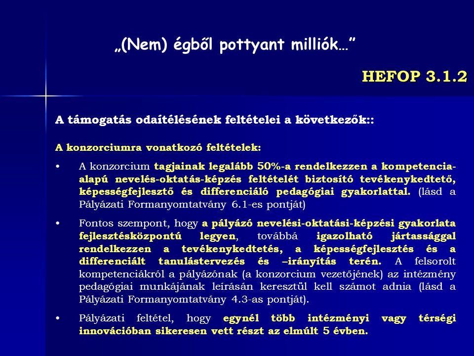 HEFOP 3.1.2 A támogatás odaítélésének feltételei a következők:: A konzorciumra vonatkozó feltételek: A konzorcium tagjainak legalább 50%-a rendelkezze