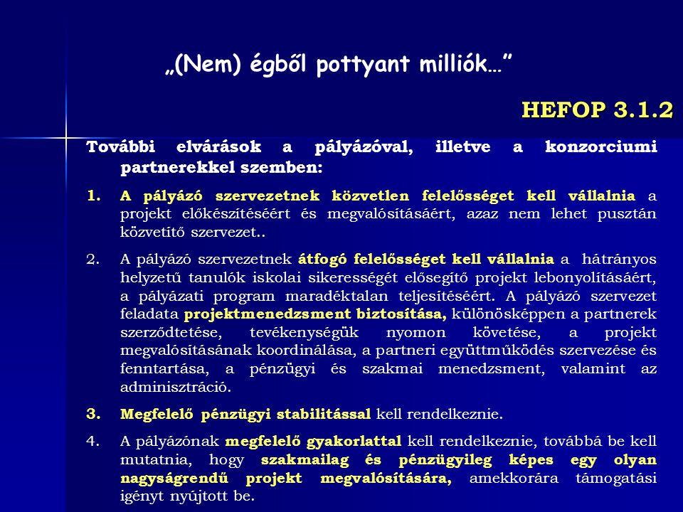 HEFOP 3.1.2 További elvárások a pályázóval, illetve a konzorciumi partnerekkel szemben: 1.A pályázó szervezetnek közvetlen felelősséget kell vállalnia