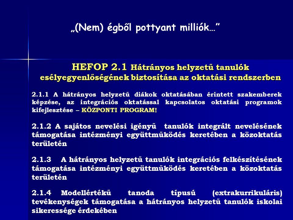 HEFOP 2.1.3 Időtartam: A projektek minimális időtartama: 10 hónap ; maximális időtartama: 24 hónap.