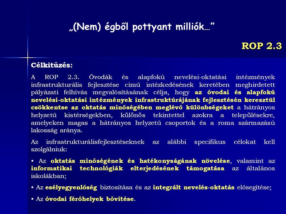 ROP 2.3 Célkitűzés: A ROP 2.3. Óvodák és alapfokú nevelési-oktatási intézmények infrastrukturális fejlesztése című intézkedésének keretében meghirdete