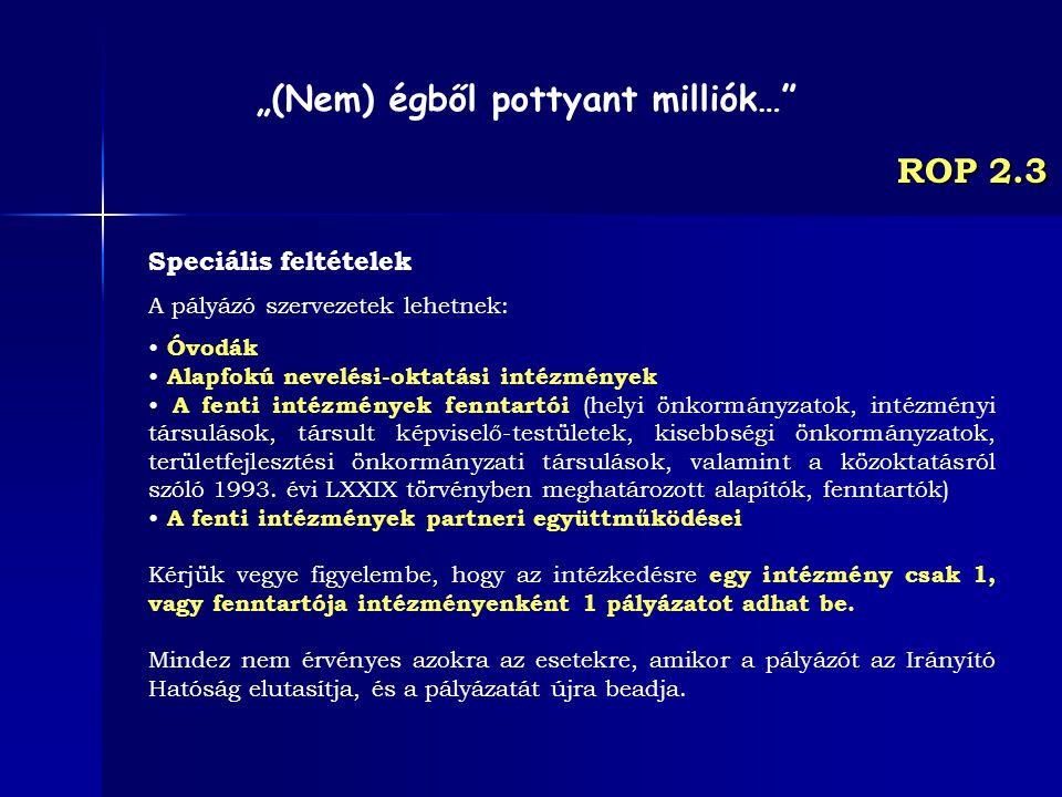 ROP 2.3 Speciális feltételek A pályázó szervezetek lehetnek: Óvodák Alapfokú nevelési-oktatási intézmények A fenti intézmények fenntartói (helyi önkor