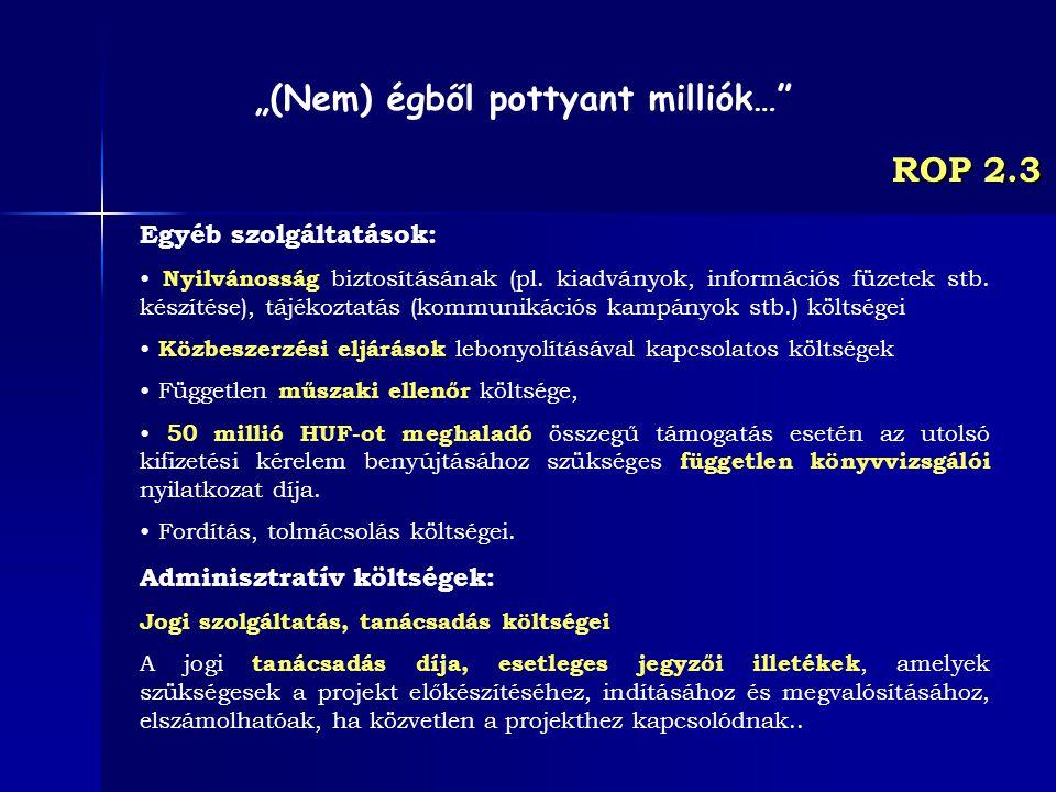ROP 2.3 Egyéb szolgáltatások: Nyilvánosság biztosításának (pl. kiadványok, információs füzetek stb. készítése), tájékoztatás (kommunikációs kampányok