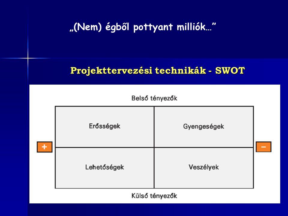 """Projekttervezési technikák - SWOT """"(Nem) égből pottyant milliók…"""""""