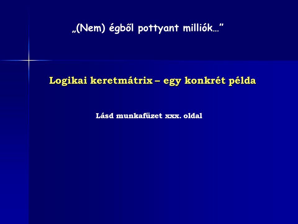 """Logikai keretmátrix – egy konkrét példa Lásd munkafüzet xxx. oldal """"(Nem) égből pottyant milliók…"""""""