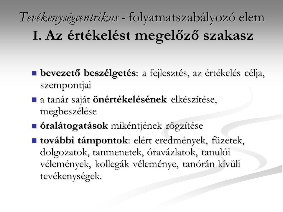 Tevékenységcentrikus - folyamatszabályozó elem I.