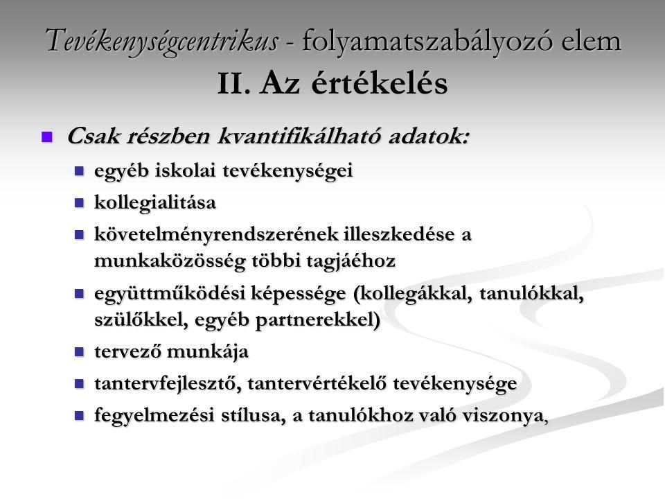 Tevékenységcentrikus - folyamatszabályozó elem II.