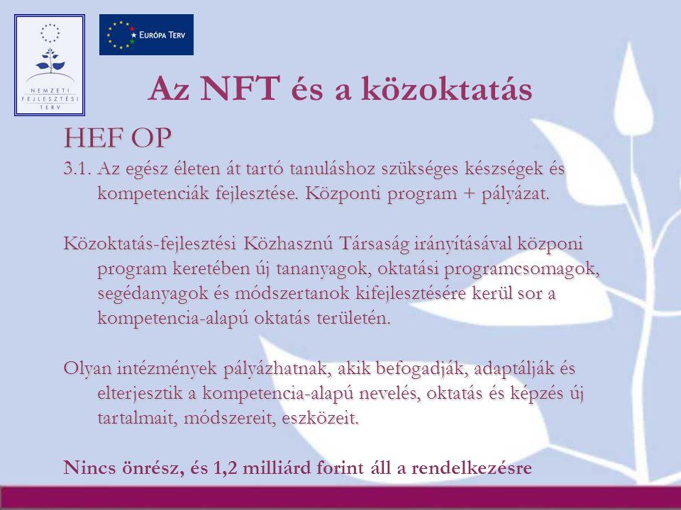 Az NFT és a közoktatás HEF OP 3.1.
