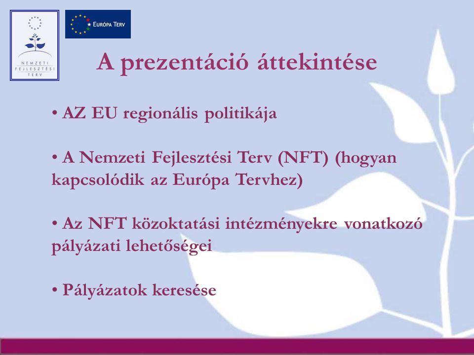 A prezentáció áttekintése AZ EU regionális politikája A Nemzeti Fejlesztési Terv (NFT) (hogyan kapcsolódik az Európa Tervhez) Az NFT közoktatási intézményekre vonatkozó pályázati lehetőségei Pályázatok keresése