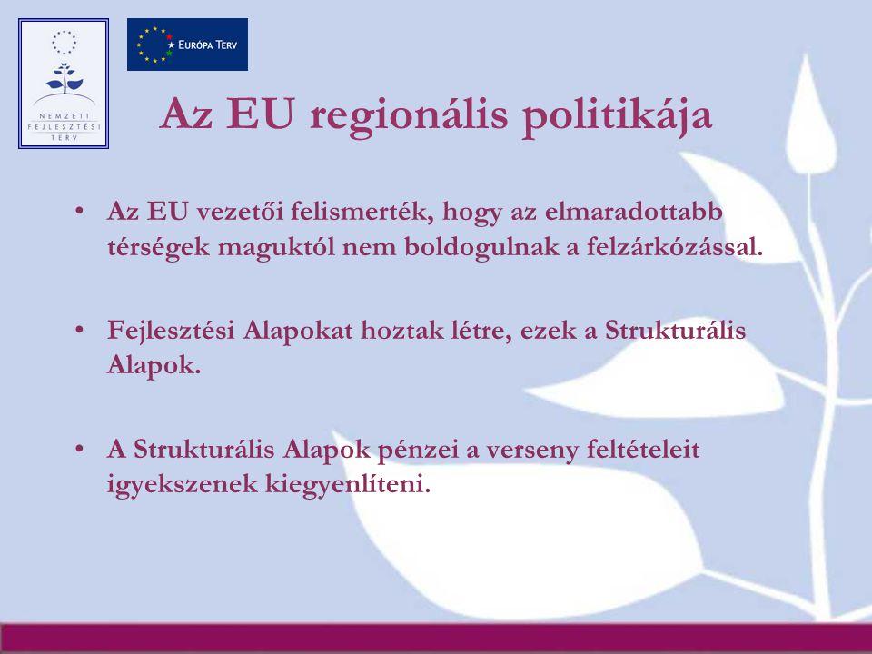 Az EU regionális politikája Az EU vezetői felismerték, hogy az elmaradottabb térségek maguktól nem boldogulnak a felzárkózással.