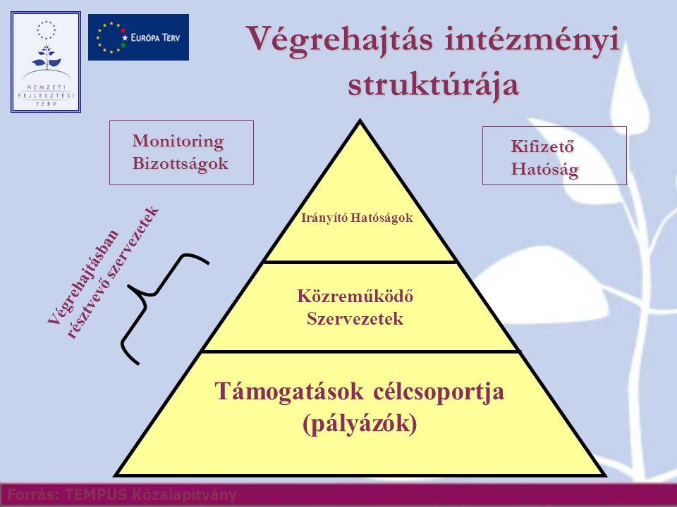 Végrehajtás intézményi struktúrája Irányító Hatóságok Közreműködő Szervezetek Végrehajtásban résztvevő szervezetek Támogatások célcsoportja (pályázók) Forrás: TEMPUS Közalapítvány Monitoring Bizottságok Kifizető Hatóság