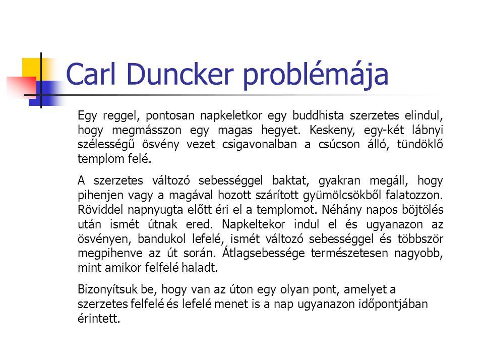 Carl Duncker problémája Egy reggel, pontosan napkeletkor egy buddhista szerzetes elindul, hogy megmásszon egy magas hegyet. Keskeny, egy-két lábnyi sz