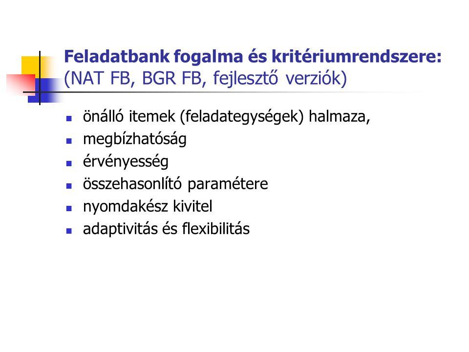 Feladatbank fogalma és kritériumrendszere: (NAT FB, BGR FB, fejlesztő verziók) önálló itemek (feladategységek) halmaza, megbízhatóság érvényesség össz