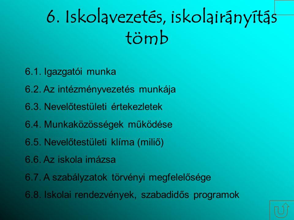 6. Iskolavezetés, iskolairányítás tömb 6.1. Igazgatói munka 6.2.