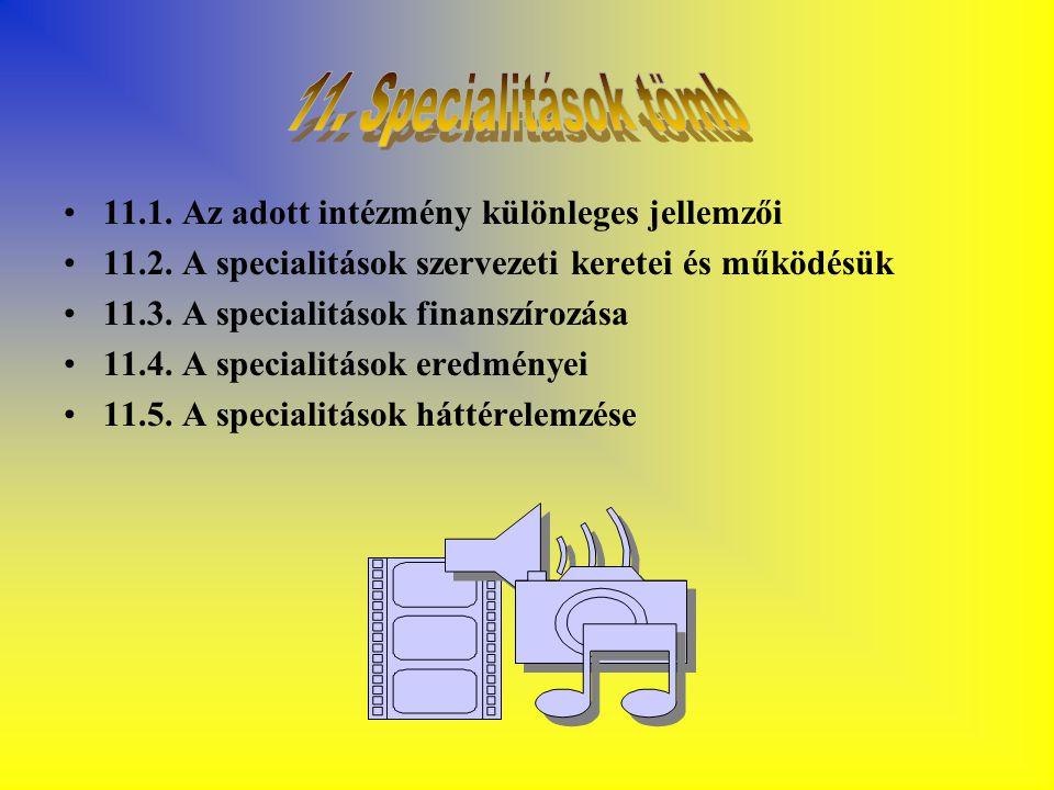 11.1. Az adott intézmény különleges jellemzői 11.2. A specialitások szervezeti keretei és működésük 11.3. A specialitások finanszírozása 11.4. A speci