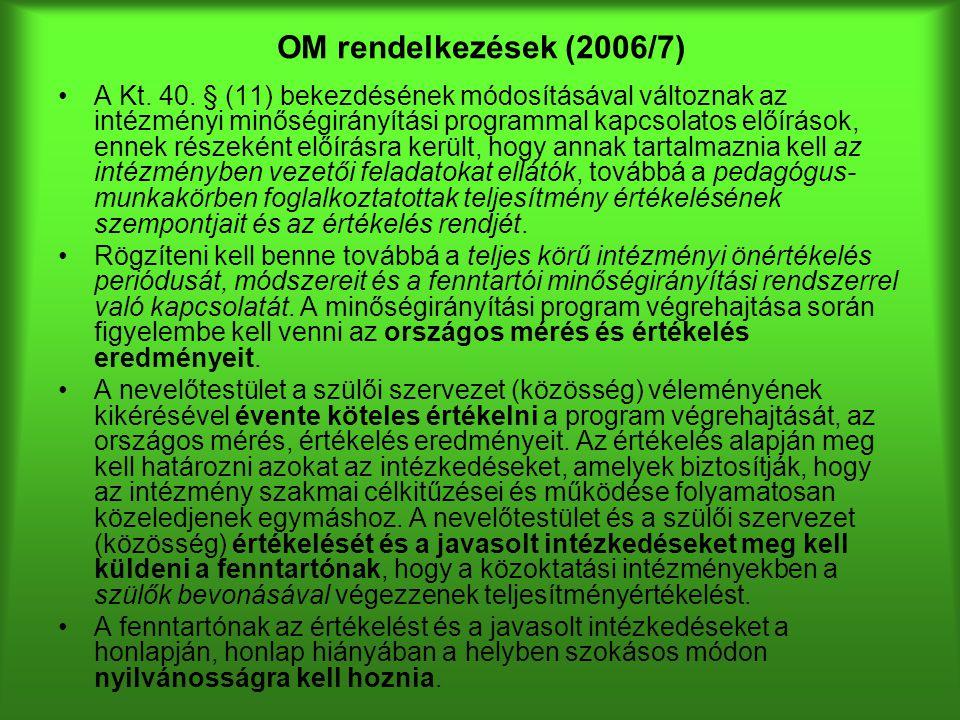 OM rendelkezések (2006/7) A Kt. 40. § (11) bekezdésének módosításával változnak az intézményi minőségirányítási programmal kapcsolatos előírások, enne