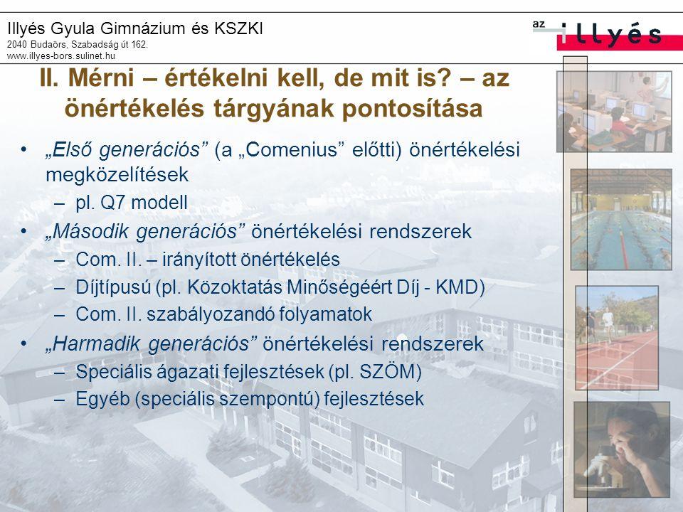 Illyés Gyula Gimnázium és KSZKI 2040 Budaörs, Szabadság út 162. www.illyes-bors.sulinet.hu II. Mérni – értékelni kell, de mit is? – az önértékelés tár