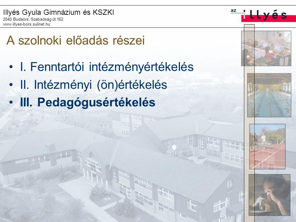 Illyés Gyula Gimnázium és KSZKI 2040 Budaörs, Szabadság út 162. www.illyes-bors.sulinet.hu A szolnoki előadás részei I. Fenntartói intézményértékelés