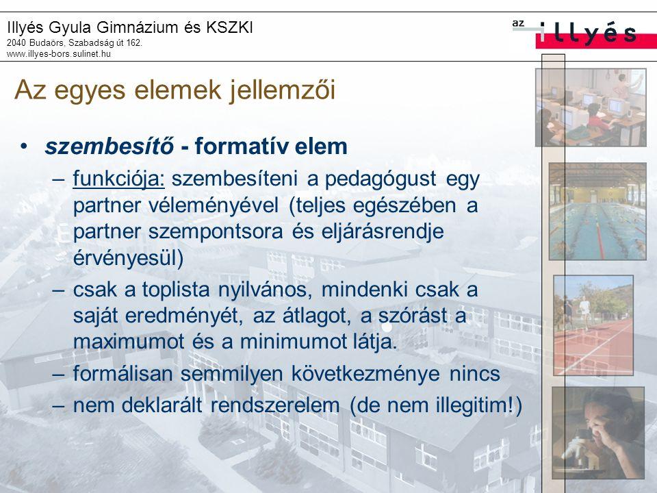Illyés Gyula Gimnázium és KSZKI 2040 Budaörs, Szabadság út 162. www.illyes-bors.sulinet.hu Az egyes elemek jellemzői szembesítő - formatív elem –funkc