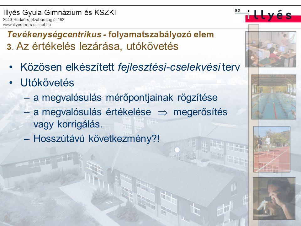 Illyés Gyula Gimnázium és KSZKI 2040 Budaörs, Szabadság út 162. www.illyes-bors.sulinet.hu Tevékenységcentrikus - folyamatszabályozó elem 3. Az értéke