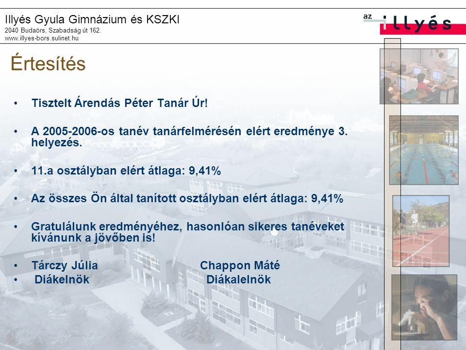 Illyés Gyula Gimnázium és KSZKI 2040 Budaörs, Szabadság út 162. www.illyes-bors.sulinet.hu Értesítés Tisztelt Árendás Péter Tanár Úr! A 2005-2006-os t