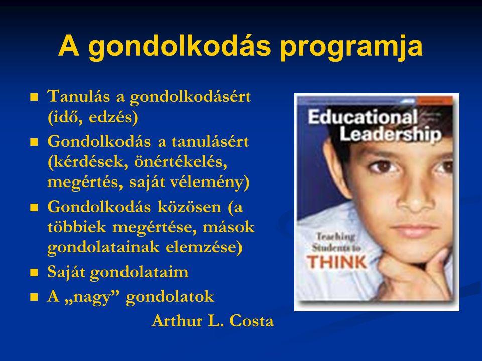 A gondolkodás programja Tanulás a gondolkodásért (idő, edzés) Gondolkodás a tanulásért (kérdések, önértékelés, megértés, saját vélemény) Gondolkodás k