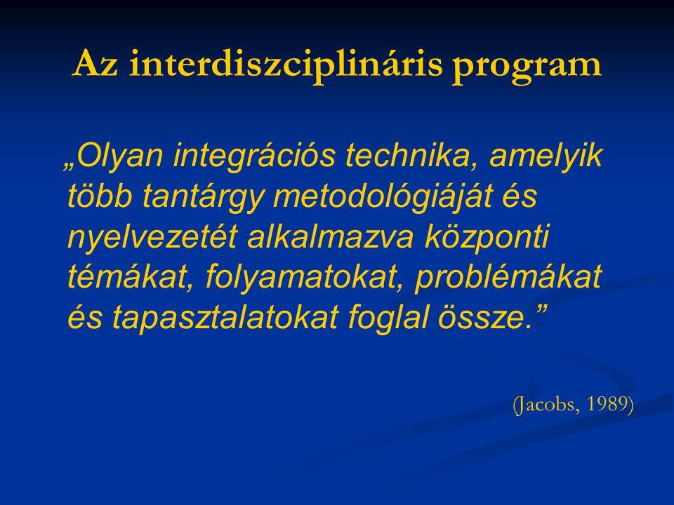 """Az interdiszciplináris program """"Olyan integrációs technika, amelyik több tantárgy metodológiáját és nyelvezetét alkalmazva központi témákat, folyamato"""