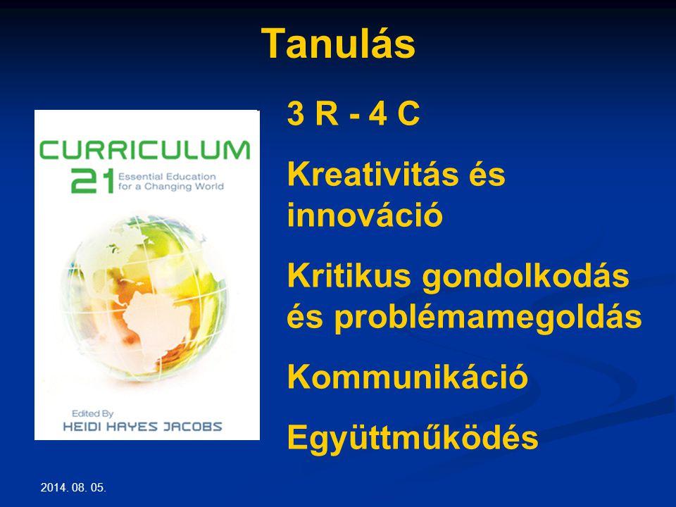 2014. 08. 05. Tanulás 3 R - 4 C Kreativitás és innováció Kritikus gondolkodás és problémamegoldás Kommunikáció Együttműködés