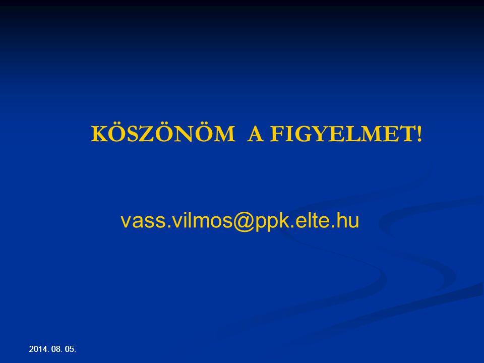 2014. 08. 05. KÖSZÖNÖM A FIGYELMET! vass.vilmos@ppk.elte.hu