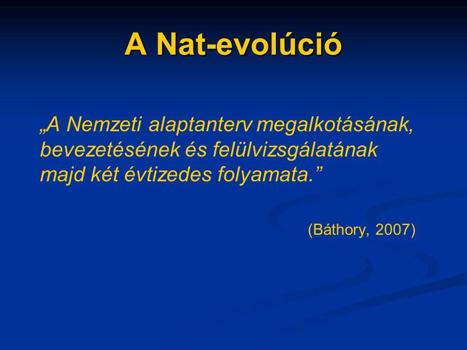 """A Nat-evolúció """"A Nemzeti alaptanterv megalkotásának, bevezetésének és felülvizsgálatának majd két évtizedes folyamata."""" (Báthory, 2007)"""