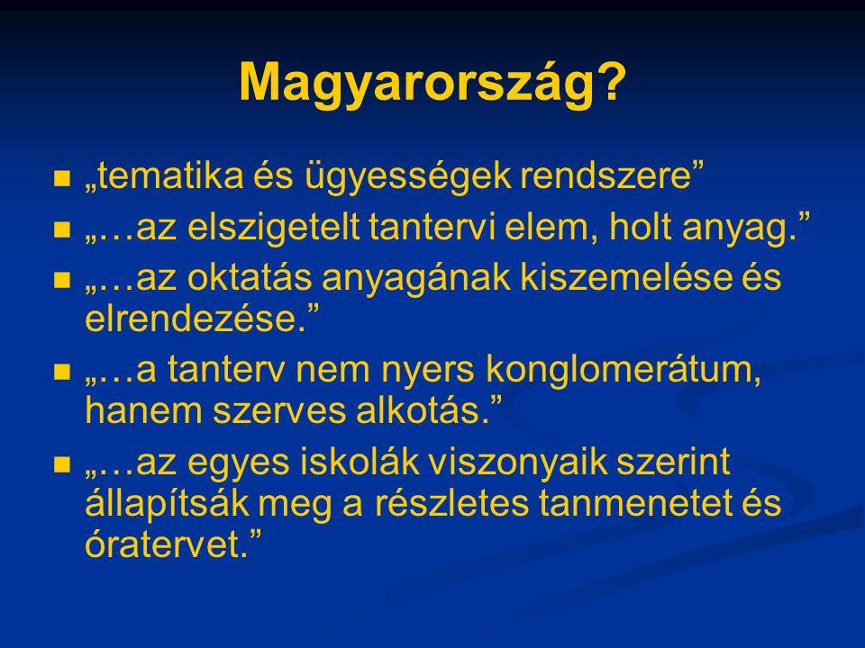 """Magyarország? """"tematika és ügyességek rendszere"""" """"…az elszigetelt tantervi elem, holt anyag."""" """"…az oktatás anyagának kiszemelése és elrendezése."""" """"…a"""
