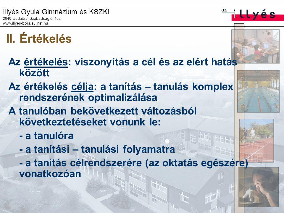 Illyés Gyula Gimnázium és KSZKI 2040 Budaörs, Szabadság út 162. www.illyes-bors.sulinet.hu II. Értékelés Az értékelés: viszonyítás a cél és az elért h