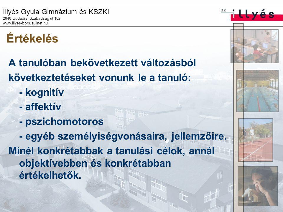Illyés Gyula Gimnázium és KSZKI 2040 Budaörs, Szabadság út 162. www.illyes-bors.sulinet.hu Értékelés A tanulóban bekövetkezett változásból következtet