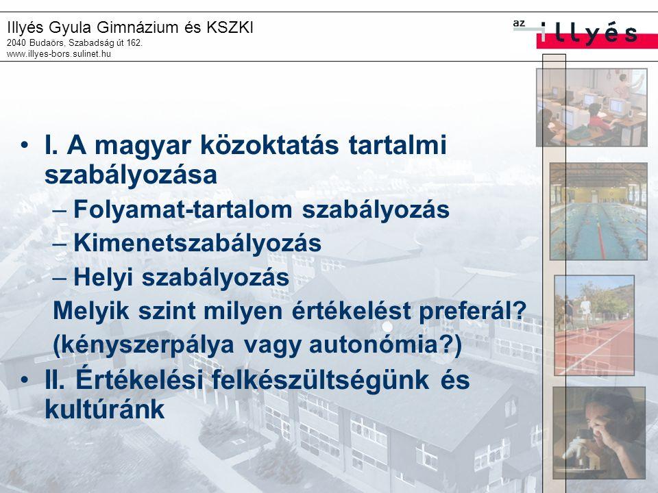 Illyés Gyula Gimnázium és KSZKI 2040 Budaörs, Szabadság út 162. www.illyes-bors.sulinet.hu I. A magyar közoktatás tartalmi szabályozása –Folyamat-tart