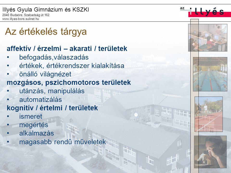 Illyés Gyula Gimnázium és KSZKI 2040 Budaörs, Szabadság út 162. www.illyes-bors.sulinet.hu Az értékelés tárgya affektív / érzelmi – akarati / területe