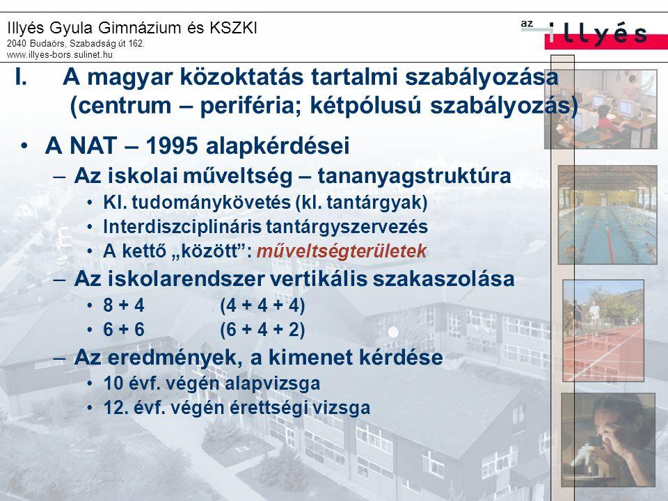 Illyés Gyula Gimnázium és KSZKI 2040 Budaörs, Szabadság út 162. www.illyes-bors.sulinet.hu I.A magyar közoktatás tartalmi szabályozása (centrum – peri